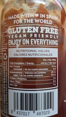KETCHUP - Información nutricional