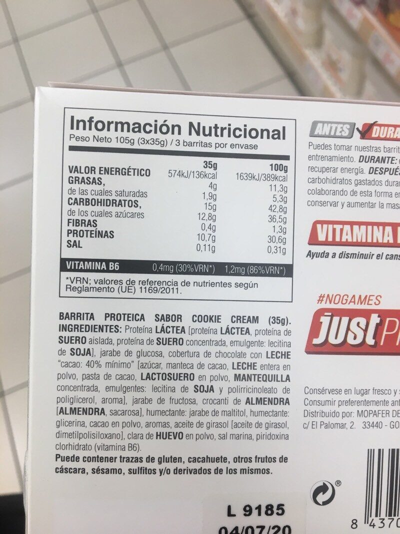 Protein bars - Nutrition facts