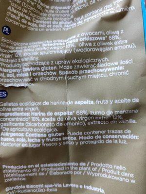 Galleta ecológico Smileat - Ingredients - es