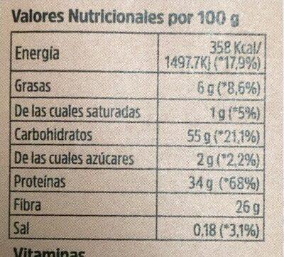 Levadura Nutricional - Valori nutrizionali - es