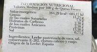 Queso Fresco de Vaca - Informations nutritionnelles - es