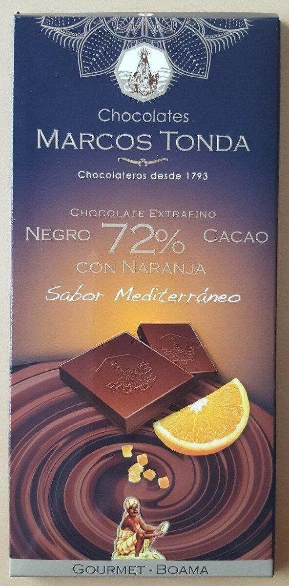 Chocolate Extrafino negro 72% cacao con naranja - Product - es