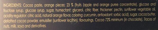 Chocolate Extrafino negro 72% cacao con naranja - Ingredients - en