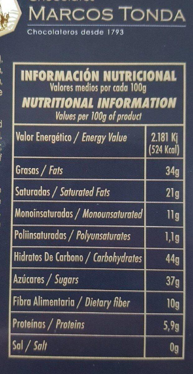 Chocolate Extrafino negro 72% cacao con naranja - Nutrition facts - es