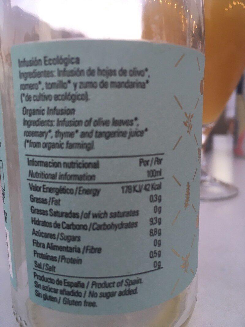 Infusión ecológica - Informació nutricional