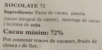 Xocolate 72%cacao 28%panela - Ingrédients - ca