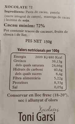 Xocolate 72%cacao 28%panela - Informations nutritionnelles - ca