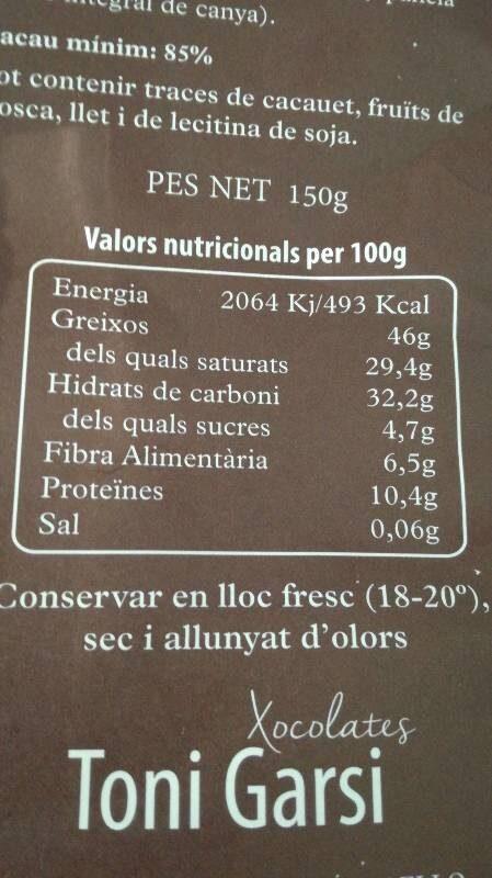 Xocolate 85 - Informations nutritionnelles - es