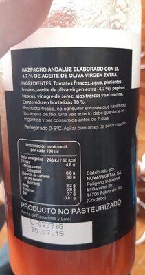 Gazpacho hortalizas frescas