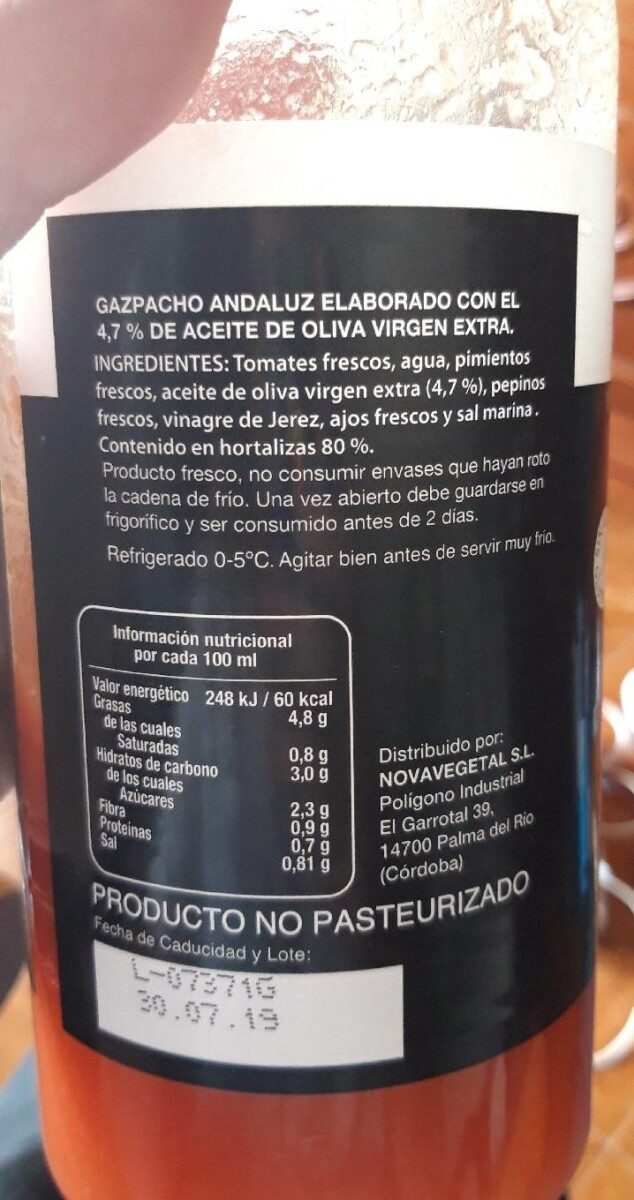 Gazpacho hortalizas frescas - Produit - es