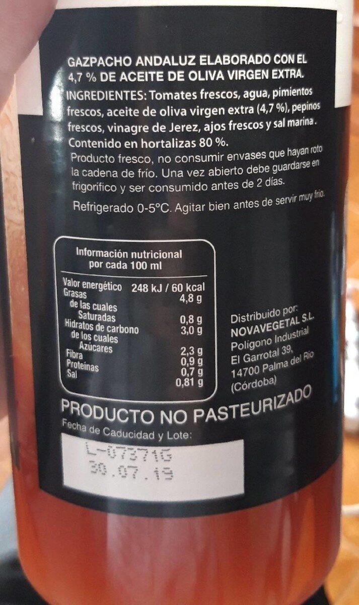 Gazpacho hortalizas frescas - Informations nutritionnelles - es