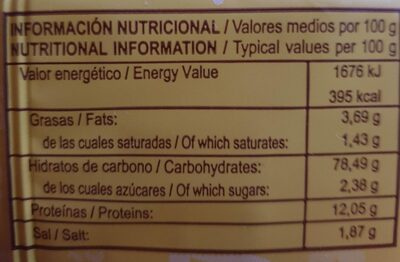 Picos tradicionales largos - Información nutricional