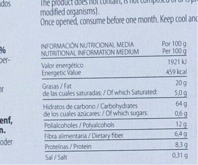 Galleta Carolina - Informació nutricional