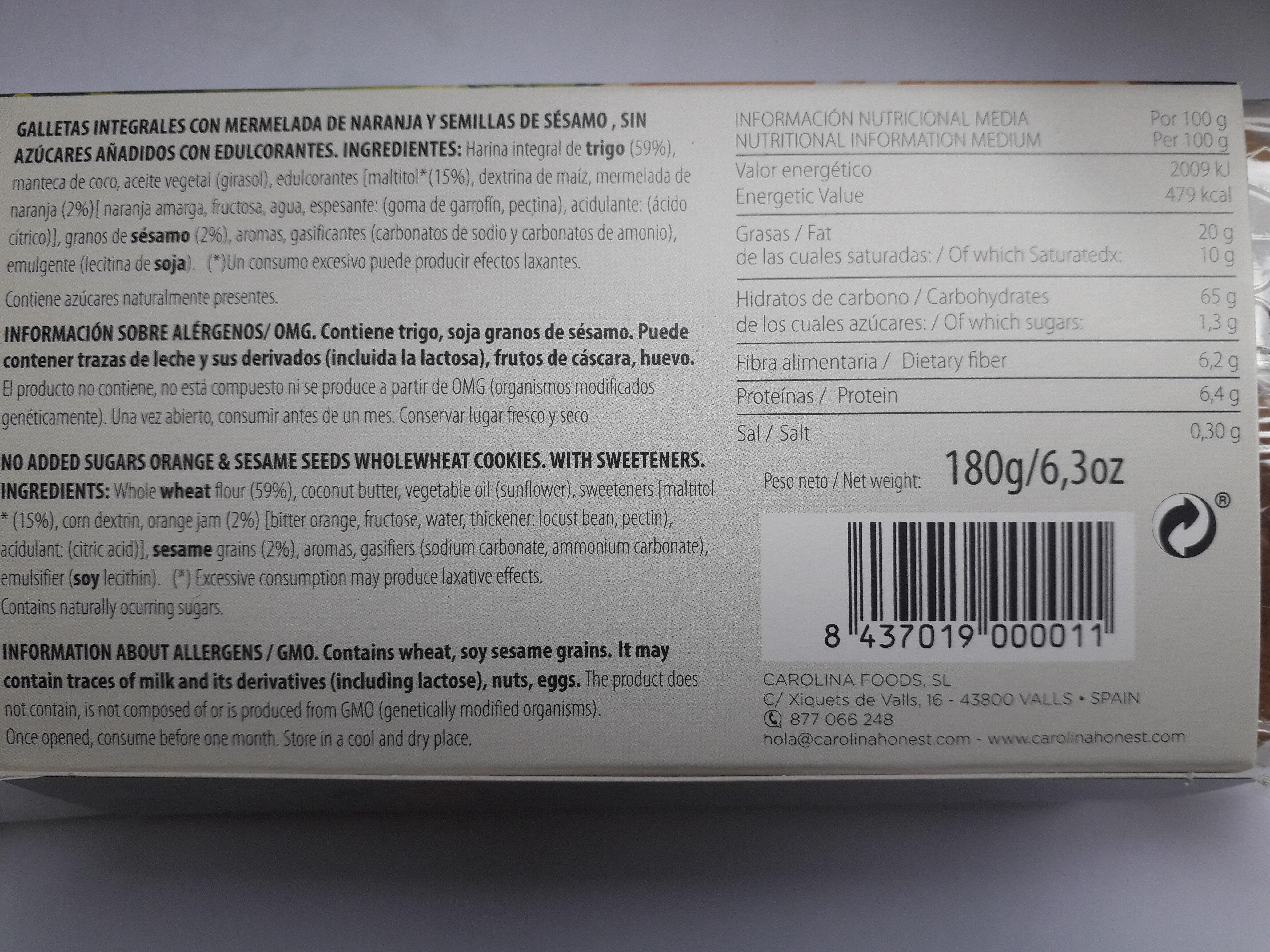 Galleta integral con naranja y sesamo - Ingrédients
