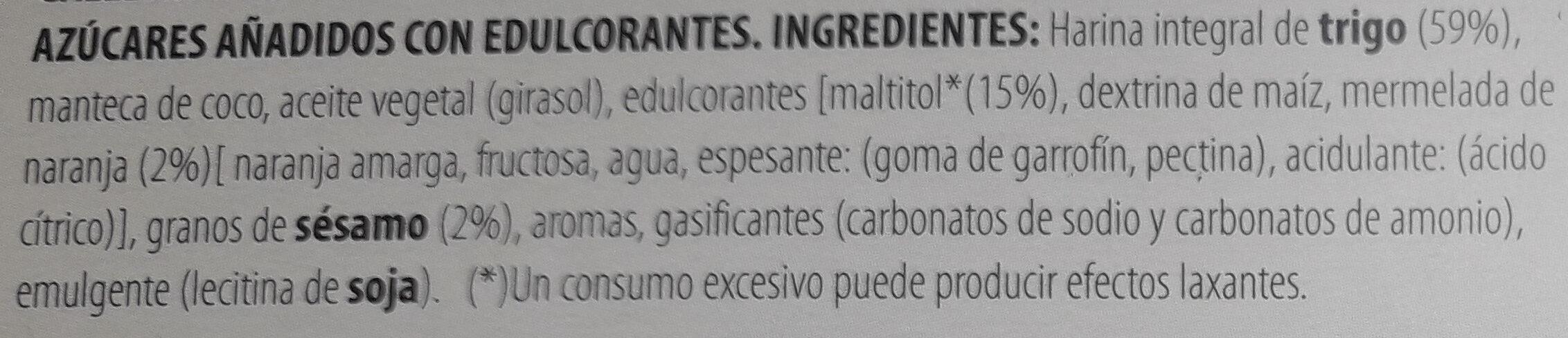 Galleta integral con sésamo y naranja - Ingrédients - es
