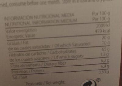 Galleta integral con sésamo y naranja - Informations nutritionnelles - es