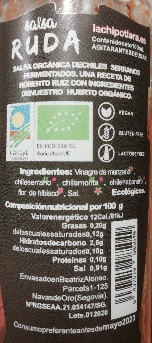 Salsa Ruda - Valori nutrizionali - es