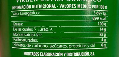 Todo Vida. AOVE Blend 4 variedades - Nutrition facts