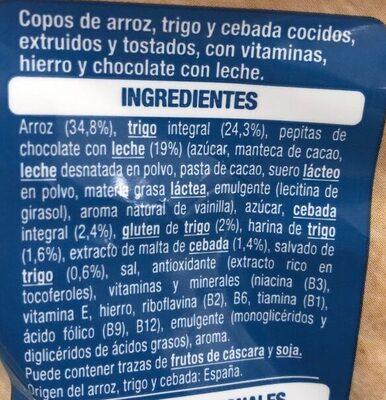 Deli form 19% pepitas de chocolate con leche - Ingrédients - es