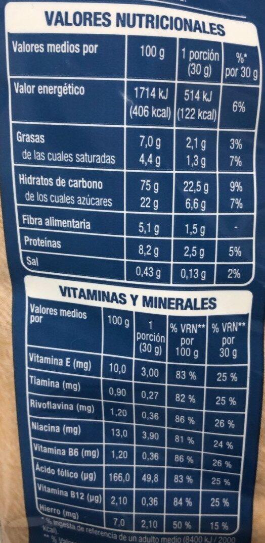 Deli form 19% pepitas de chocolate con leche - Informations nutritionnelles - es