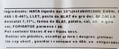 Canelons de bacallà Perello - Ingrédients - ca