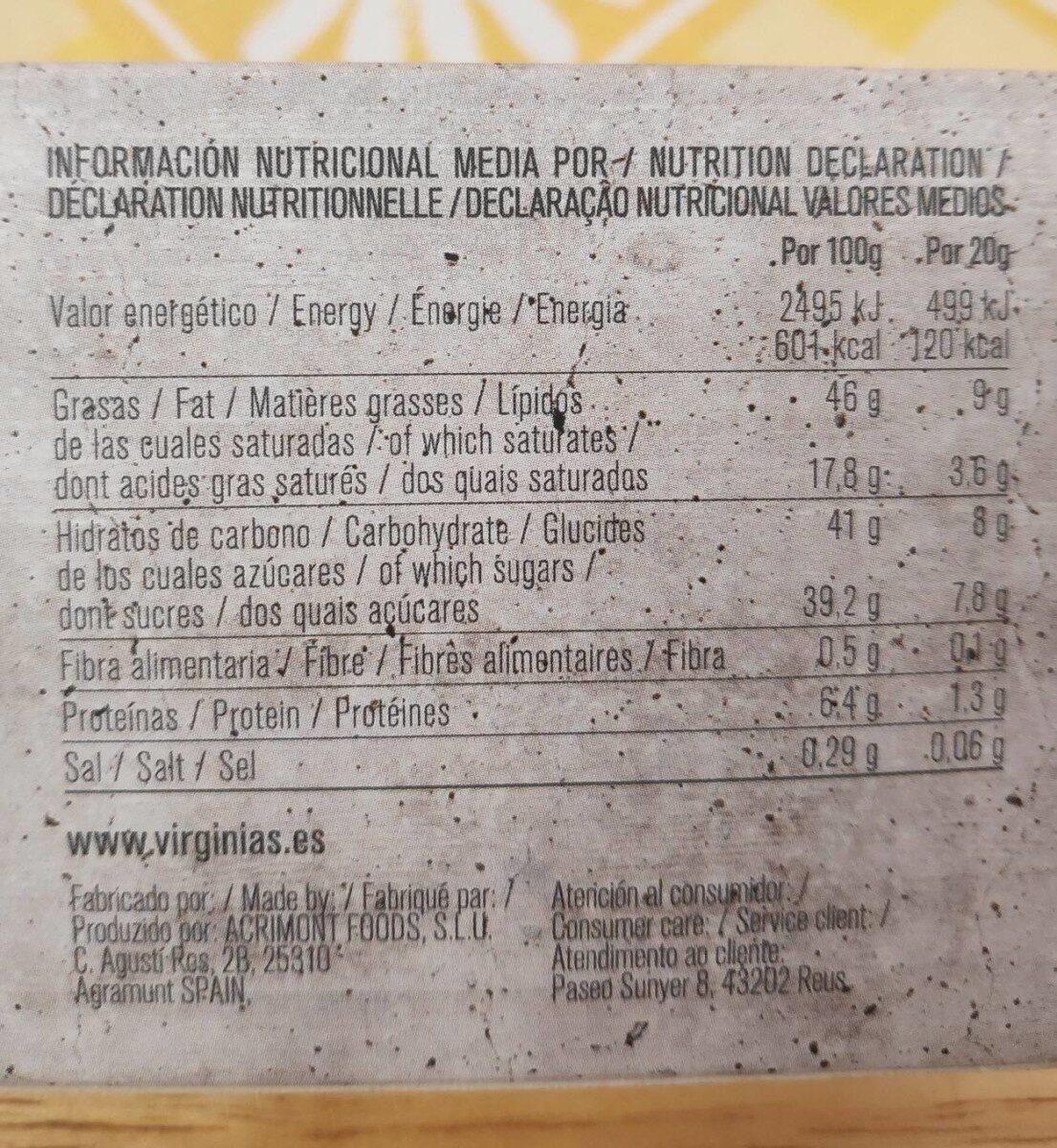 Turrón de chocolate Ruby - Informació nutricional