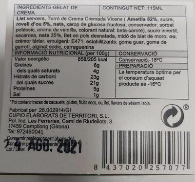 Toro de crema cromada gelat - Informació nutricional - es