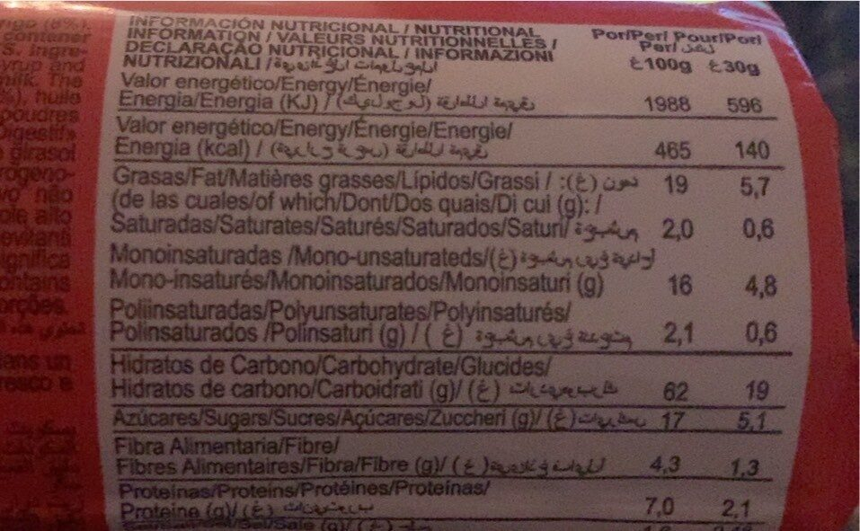 Digestive - Nutrition facts - es