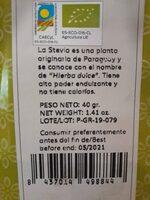 Stevia en hojas - Información nutricional - es