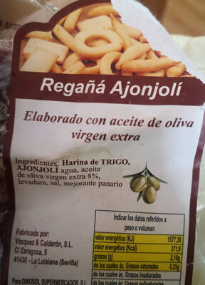 Regaña Ajonjolí - Ingredientes - es