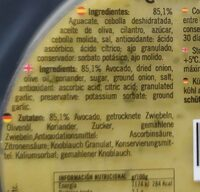 Guacamole suave - Nutrition facts - es