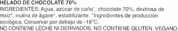 Helado chocolate 70% - Ingredients