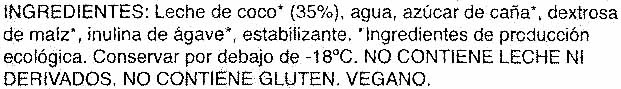 Helado ecológico de coco sin gluten y sin lactosa tarrina - Inhaltsstoffe - es
