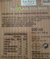 Helado ecológico de coco sin gluten y sin lactosa tarrina - Informations nutritionnelles - es