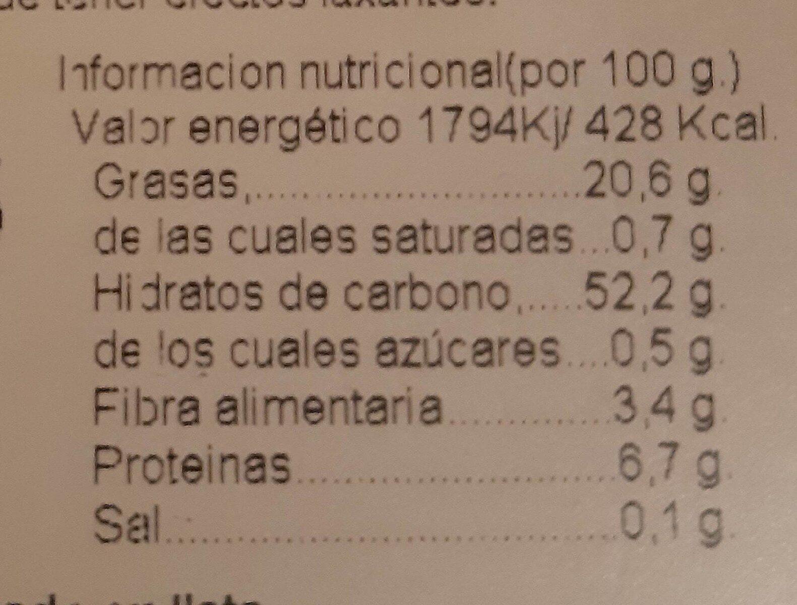 Rollo Huevo con edulcorante - Información nutricional
