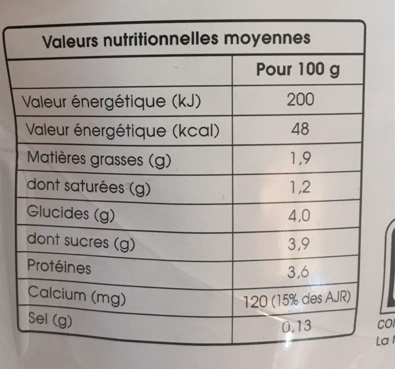 La fontaine à yaourt nature - Informations nutritionnelles