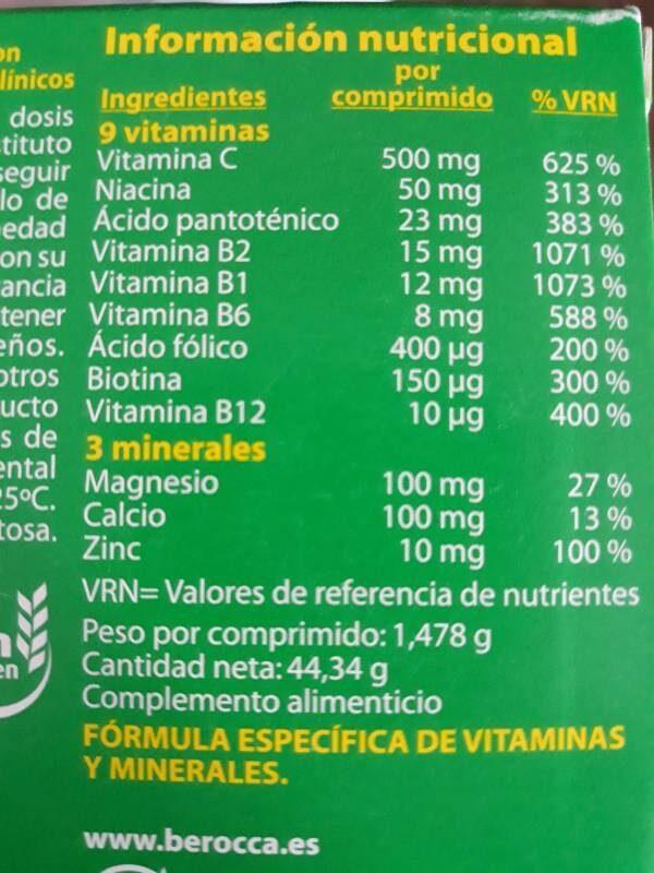 Berocca - Información nutricional - es