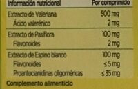 Valeriana con pasiflora y espino blanco - Informations nutritionnelles