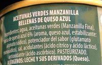 Aceitunas Verdes Rellenas de Queso Azul - Ingredients - es