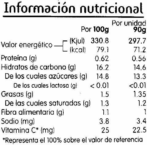 Puré de frutas piña y coco - Información nutricional - es