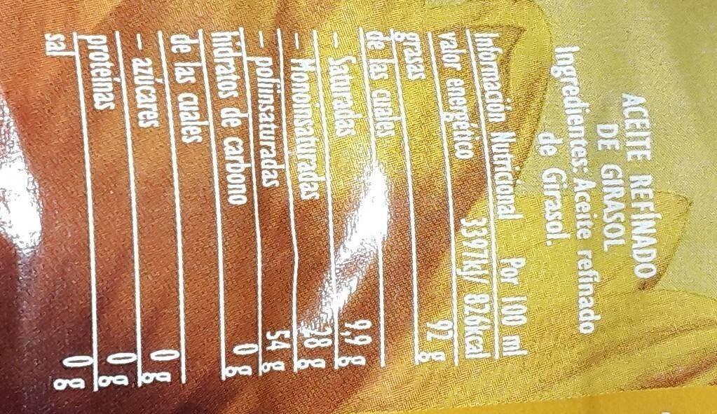 Aceite Refinado De Girasol - Voedigswaarden