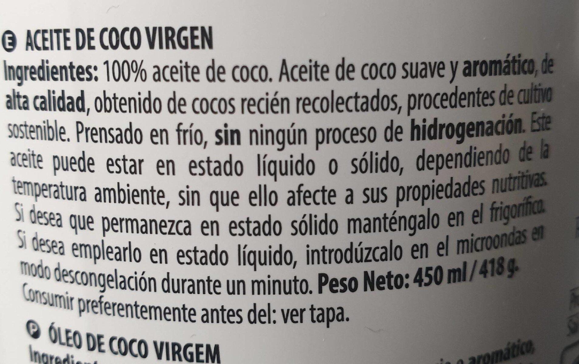 Aceite de coco - Ingrediënten - es