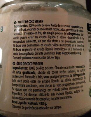 Aceite de coco - Nutrition facts