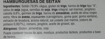 Hamburguesa De Seitán - Hacendado - 180G - Ingredients