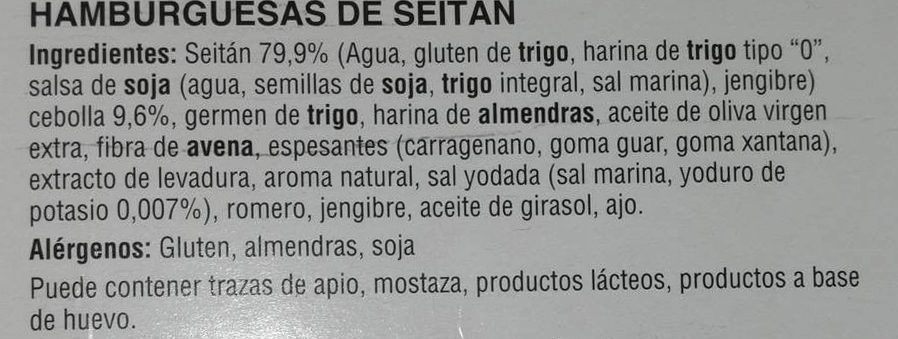 Hamburguesa de Seitán - Ingredientes