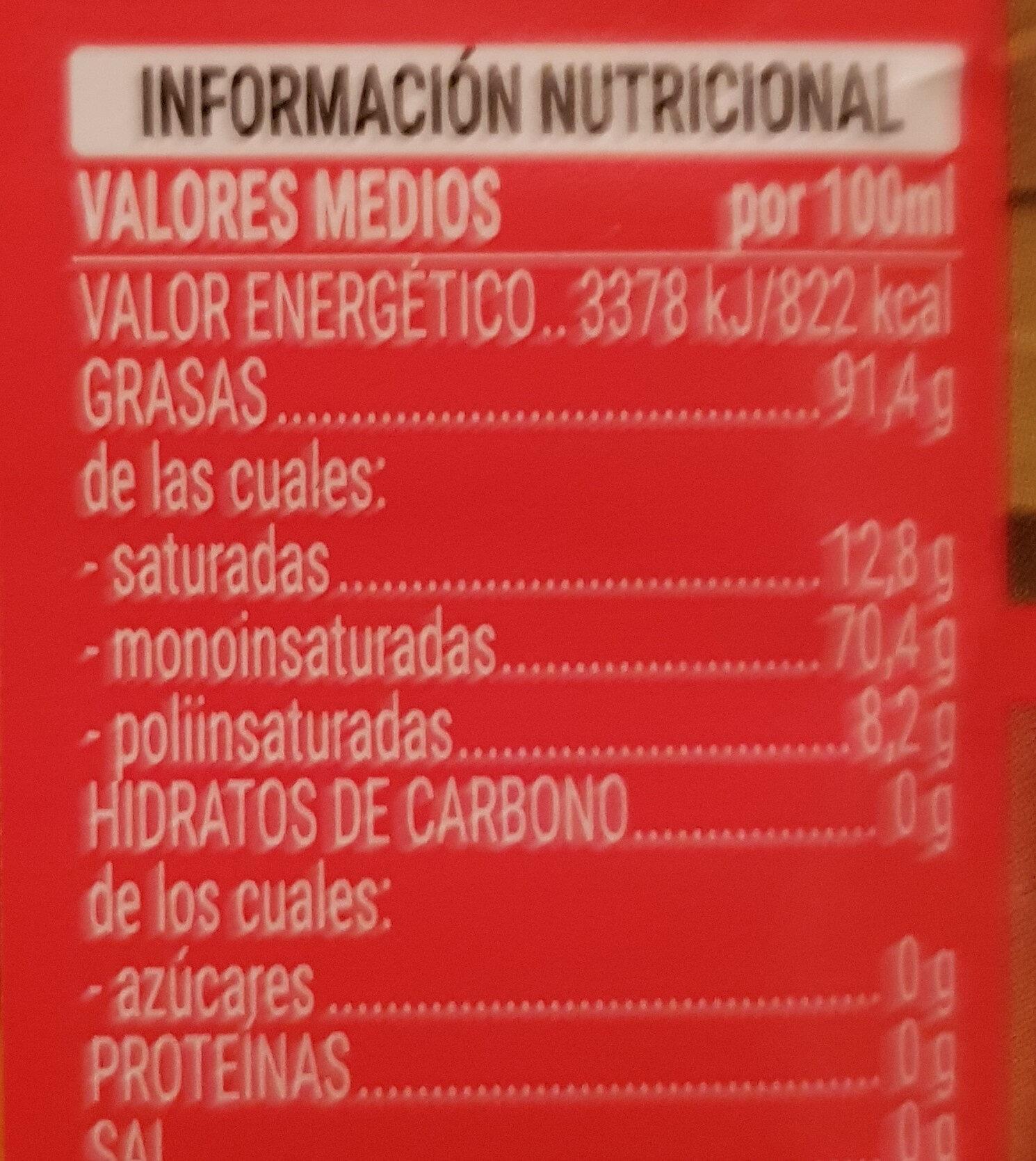 Aceite de oliva sabor suave - Información nutricional