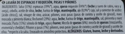 Lasagna espinacas y requesón - Ingredients