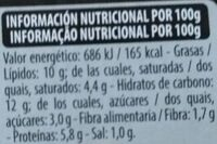 Lasagna espinacas y requesón - Informació nutricional - es