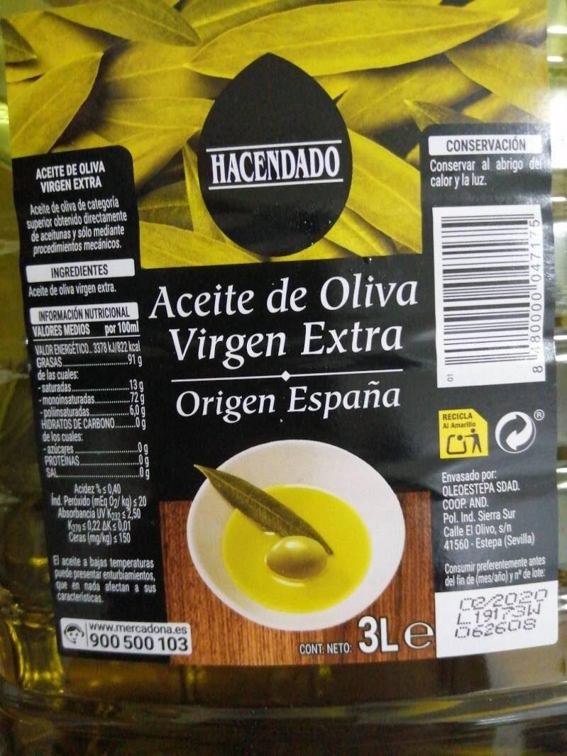 Aceite de oliva virgen extra Hacendado - Produit - es