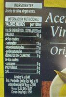 Aceite de oliva virgen extra Hacendado - Informations nutritionnelles - es